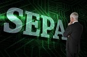 The word sepa and thoughtful businessman standing back to camera against green and black circuit boa