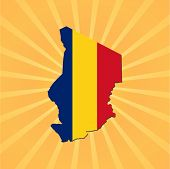 Chad map flag on sunburst vector illustration