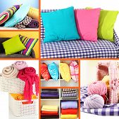 Collage of plaids and color pillows