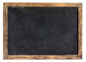 stock photo of slating  - Vintage blank blackboard or school slate used by children during class and for homework with a weathered wooden frame isolated on white - JPG