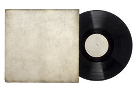 image of lp  - Image of a vinyl long play record with sleeve on a white background with copy space - JPG