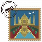Old postal stamp with Taj Mahal, famous landmark of India poster