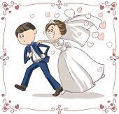 stock photo of possess  - Vector cartoon of a scared groom running away from bride and marriage - JPG