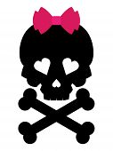 picture of skull cross bones  - Skull with a pink bow on white background - JPG
