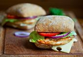 stock photo of cutting board  - Two chicken sandwiches on a wooden cutting board - JPG