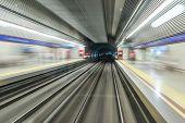 foto of high-speed train  - Underground train tunnel blurred motion  - JPG