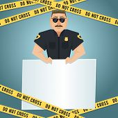 picture of policeman  - Policeman character with blank board and yellow do not cross tape poster vector illustration - JPG