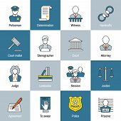 picture of justice law  - Law justice and legislation flat line icons set of judge scales courthouse and jail isolated vector illustration - JPG