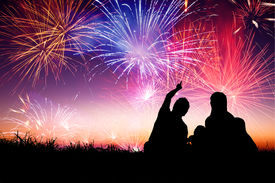 foto of boys night out  - happy family sitting on floor and watching the fireworks - JPG