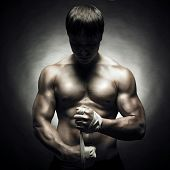 stock photo of muscle man  - Poto of naked athlete with strong body - JPG