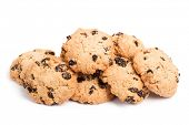 picture of baked raisin cookies  - Cookies with raisins isolated on white background - JPG