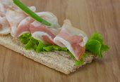 pic of bap  - Bacon sandwich with crisp and salad leaves - JPG