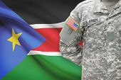 picture of south american flag  - American soldier with flag on background  - JPG