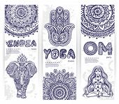 foto of om  - Vector set of banners with ethnic and yoga symbols for your business - JPG