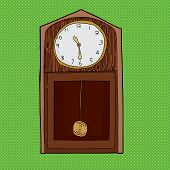 image of pendulum clock  - Cartoon grandfather clock with pendulum over green - JPG