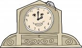 stock photo of nursery rhyme  - Cartoon mouse on top of smiling mantle clock - JPG