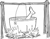 foto of cauldron  - Outline cartoon of human foot boiling in campfire cauldron - JPG