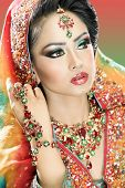 image of pakistani  - Ethnic Eastern bride in bollywood style bridal outfit - JPG