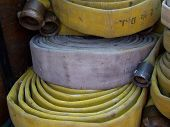stock photo of firehose  - This is a picture of fire hoses - JPG