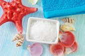 stock photo of salt-bowl  - sea salt in bowl and on a table - JPG