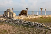 image of sevastopol  - Colonnade in ruins of the Ancient Greek city of Chersonese early in the morning Sevastopol the Crimea - JPG