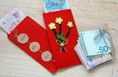 stock photo of  habits  - Habit custom of Vietnamese on Tet is lucky money a Vietnam traditional culture child wish somebody a happy new year receive red envelope with new small change Tet on spring also lunar new year - JPG