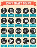 stock photo of communication  - Icons set of smart devices modern wearable electronics audio and video gadgets communication systems and home control and the vehicle  - JPG
