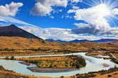 stock photo of snow capped mountains  - Beautiful summer morning in Patagonia - JPG