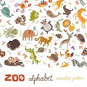 picture of zoo animals  - Bright Alphabet set letters with cute animals - JPG