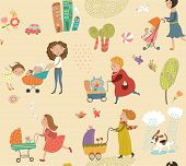 picture of babysitter  - Illustration of mother and baby - JPG