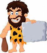picture of caveman  - Vector illustration of Caveman cartoon with stone tablet - JPG