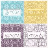 stock photo of outline  - Vector yoga icons and line badges  - JPG