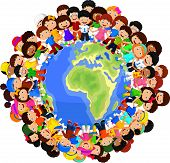 stock photo of cartoon character  - Vector illustration of Multicultural children cartoon on planet earth - JPG
