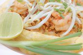 pic of scallion  - Close up of padthai covered by omelet with shrimp lemon scallion & bean sprouts