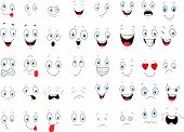 stock photo of human face  - Vector illustration of Various cartoon face expressions - JPG