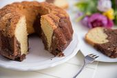 image of lice  - Home made Gugelhupf Sponge Cake with chocolate - JPG