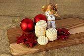 stock photo of christmas cookie  - Christmas cookies handmade lying on wooden background - JPG