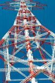 picture of electricity pylon  - Electricity pylon for the alternative energy supply over land - JPG