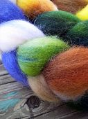 pic of alpaca  - Alpaca wool and mohair wool on a wooden board - JPG