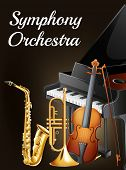 stock photo of orchestra  - Illustration of a symphony orchestra poster - JPG