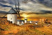 stock photo of windmills  - windmils of Spain - JPG