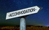 stock photo of guest-house  - Accommodation sign with a beautiful night background - JPG