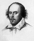 stock photo of william shakespeare  - Copperplate engraving of a drawing of the Chandos portrait of William Shakespeare circa 1783 - JPG