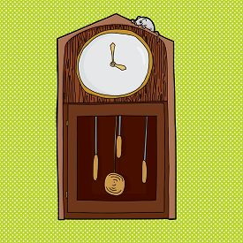 picture of nursery rhyme  - Mouse on top of antique clock with blank face - JPG