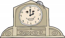 foto of nursery rhyme  - Cartoon mouse on top of smiling mantle clock - JPG