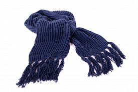 picture of tassels  - Blue winter scarf with tassels or fringe isolated against a white background - JPG