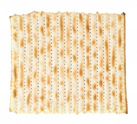 picture of piety  - Single machine made matza flatbread piece isolated over the white background - JPG