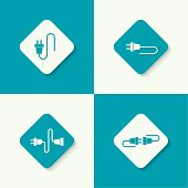 foto of electricity  - Set icons with wire plug and socket - JPG