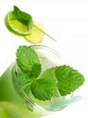 stock photo of mojito  - Close up of Mojito cocktail isolated on white background - JPG