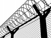 picture of barbed wire fence  - Fence with a barbed wire - JPG